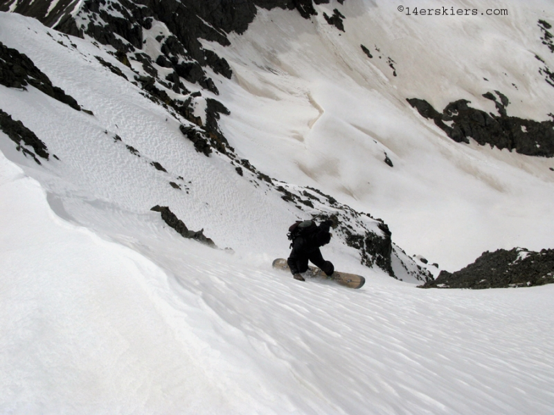 Jarrett Luttrell snowboarding Kendall Peak near Silverton, CO.