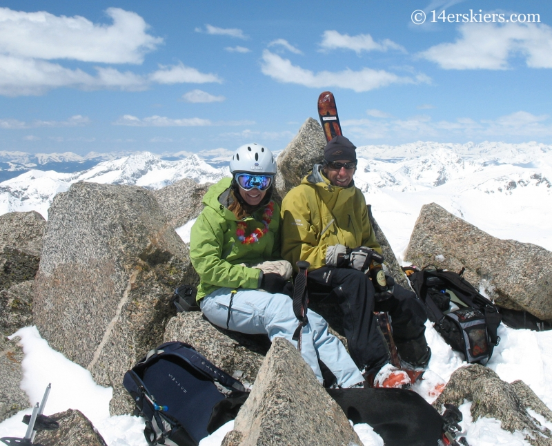 Brittany Walker Konsella and Frank Konsella on the summit of Harvard, Frank's last Colorado fourteener to ski.