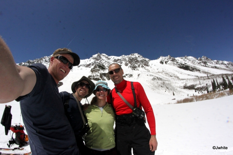 The high after skiing the Landry Line on Pyramid!  - A clear favorite for the majority of fourteener finishers.  In this photo: Jordan White, Frank Konsella, Brittany Walker Konsella, Matt Kamper.