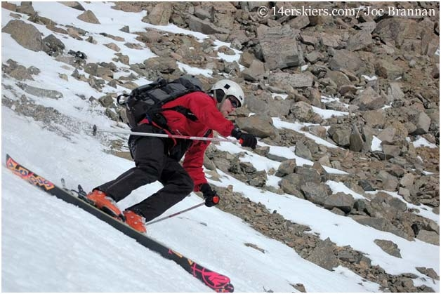 Joe Brannan skiing Columbia, a fourteener in the Sawatch Range.