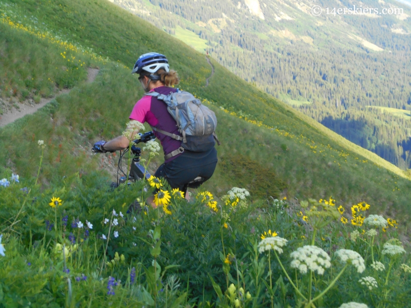 Brittany Konsella riding trail 401 near Crested Butte