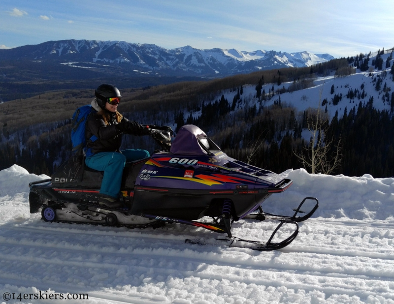 Snowmobiling on easy groomed roads during ACL recovery.