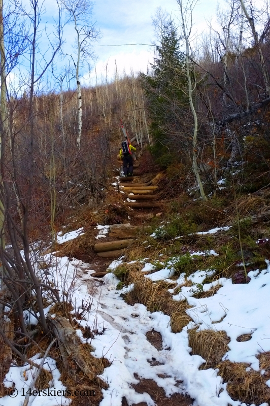Hiking on Pitkin Creek trail to go backcountry skiing.