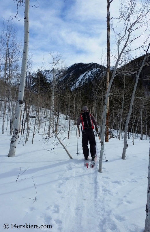 Skinning up Pitkin Creek to go backcountry skiing in the Gore Range.