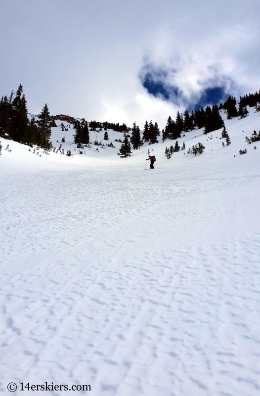 Backcountry skiing Birthday Chute in the Gore Range.
