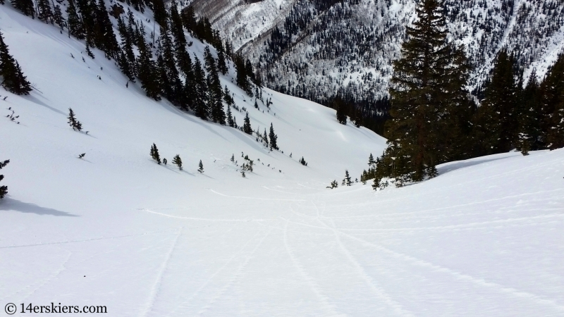 Backcountry skiing Birthday Chute in the Gore Range.