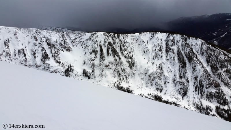 Backcountry skiing in the Gore Range.