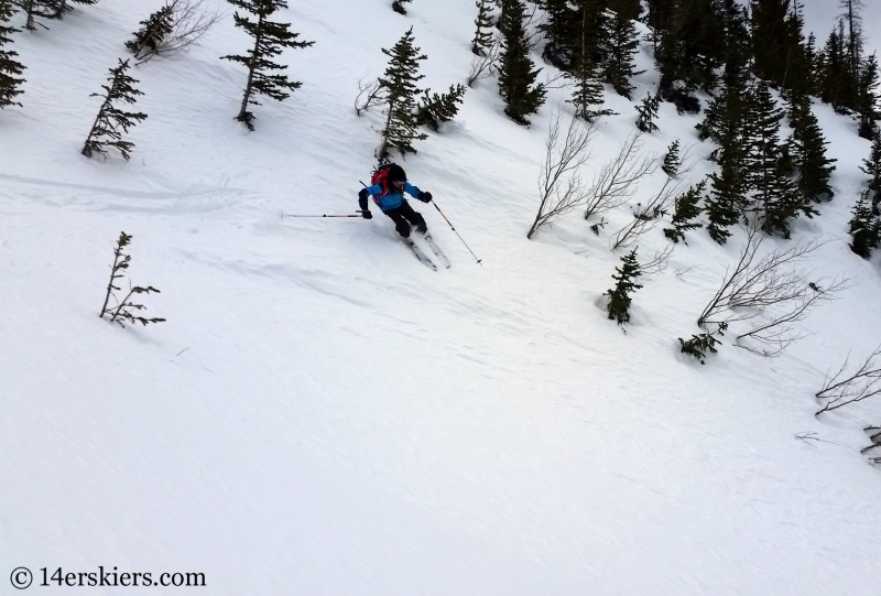 Larry Fontaine backccountry skiing Birthday Chute in the Gore Range.