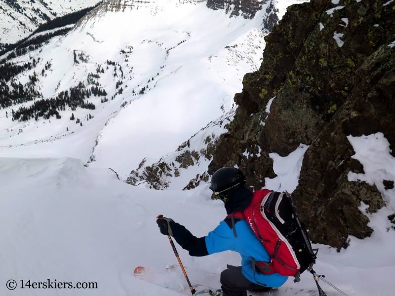 Larry Fontaine backcountry skiing the Purple S Couloir in Crested Butte