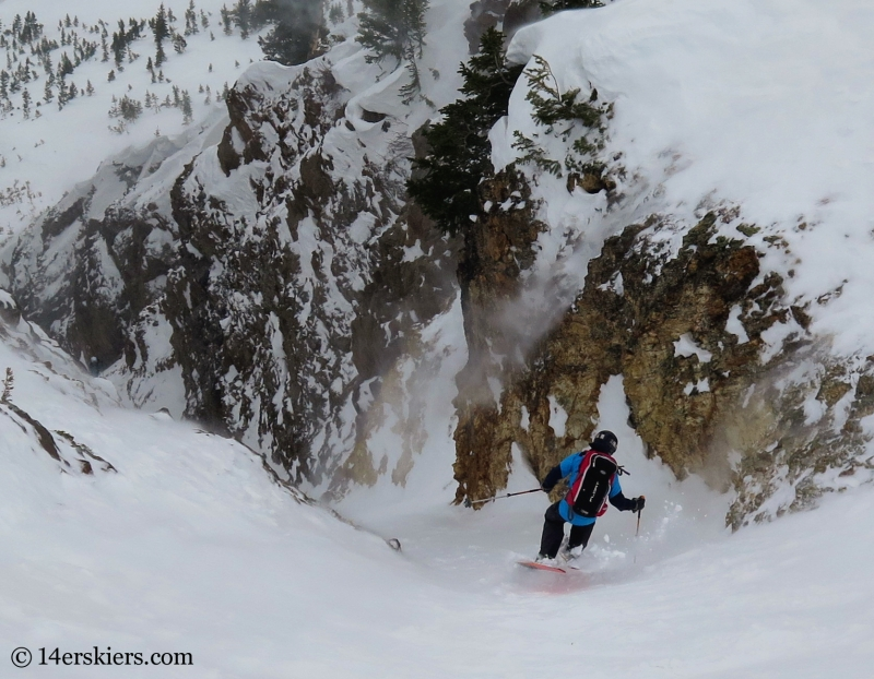 Larry Fontaine backcountry skiing in Crested Butte, Axtell Pencil Couloir