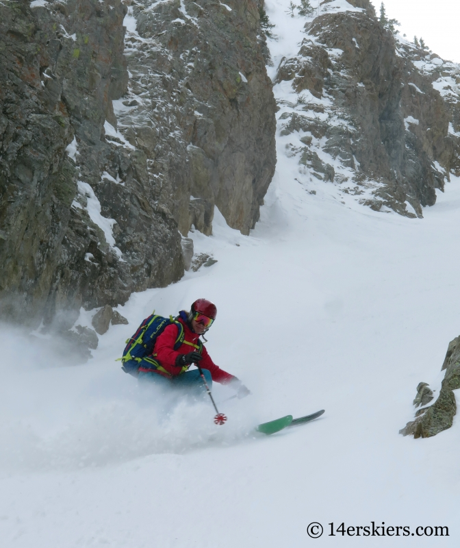 Brittany Walker Konsella backcountry skiing in Crested Butte, Axtell Pencil Couloir