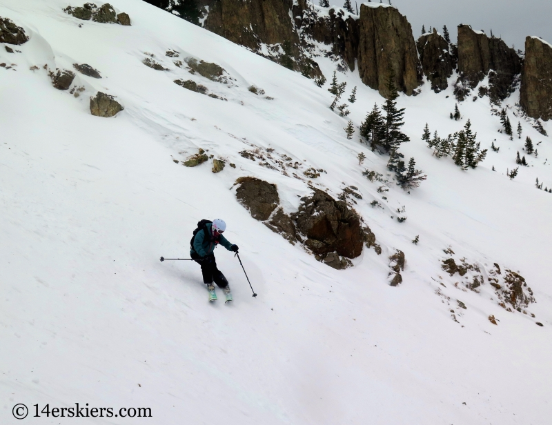 Susan Mol backcountry skiing in Crested Butte, Axtell Pencil Couloir