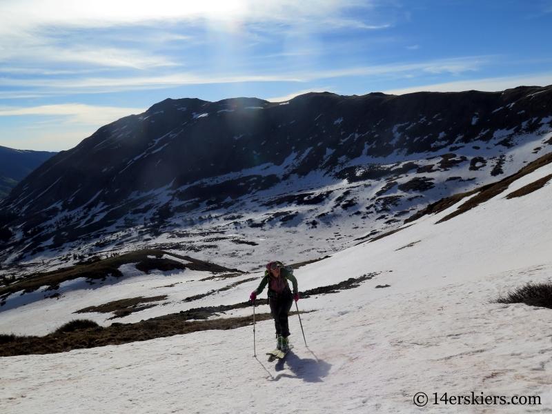 Natalie Moran backcountry skiing on Emma Burr Mountain.