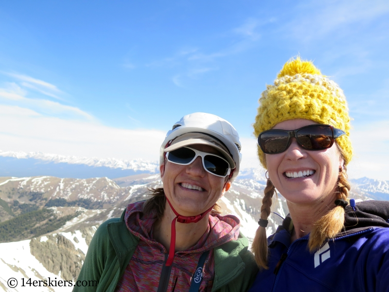 Natalie Moran and Brittany Konsella on the summit of Emma Burr Mountain.
