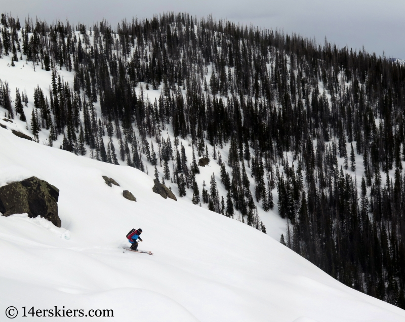 Larry Fontaine backcountry skiing Farwell Mountain, North Routt, near Steamboat Springs, CO