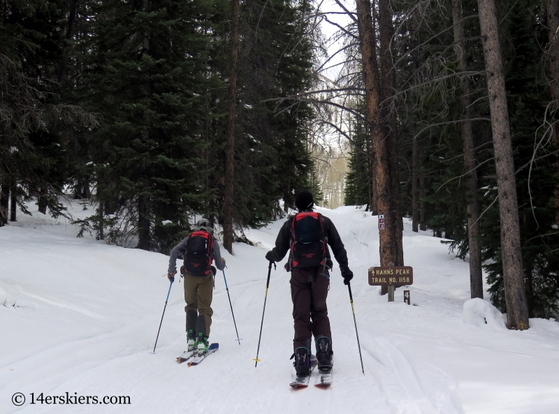 Backcountry skiing Hahs Peak in North Routt, near Steamboat Springs, CO.