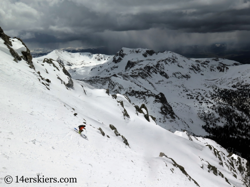 Frank Konsella backcountry skiing Northstar Couloir on North Arapahoe Peak.