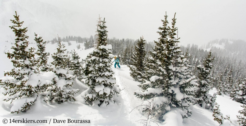 Brittany Walker Konsella backcountry skiing Outpost Peak in the Gore Range.