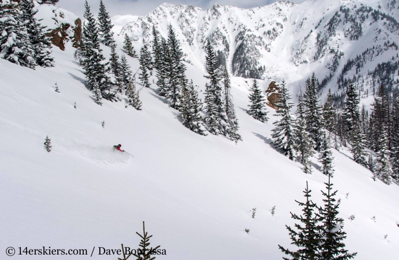 Brittany Walker Konsella backcountry skiing on Outpost Peak in the Gore Range.