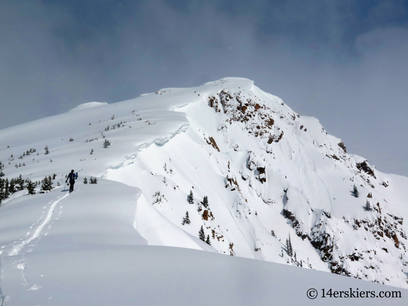 Backcountry skiing Outpost Peak in the Gore Range.