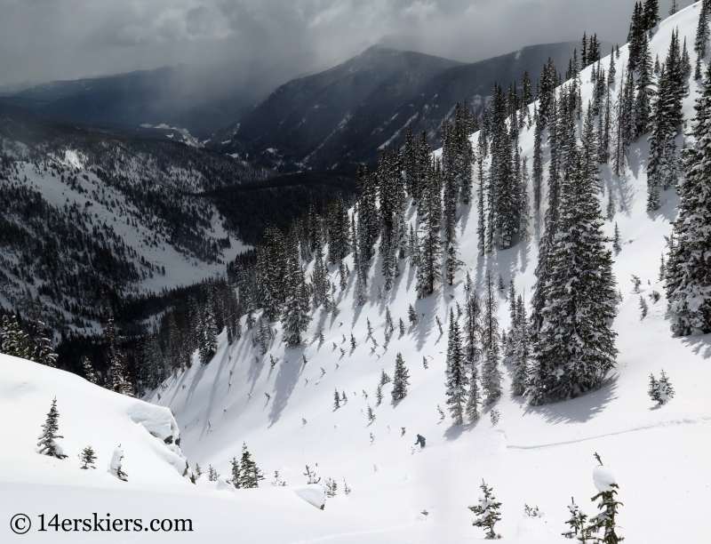 Dave Bourassa backcountry skiing on Outpost Peak in the Gore Range.