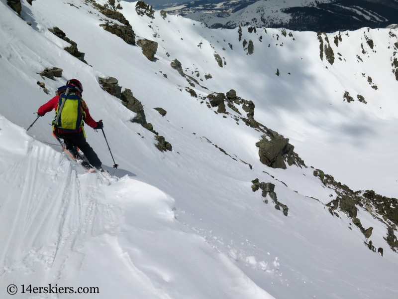 Brittany Walker Konsella backcountry skiing Pacific Peak.
