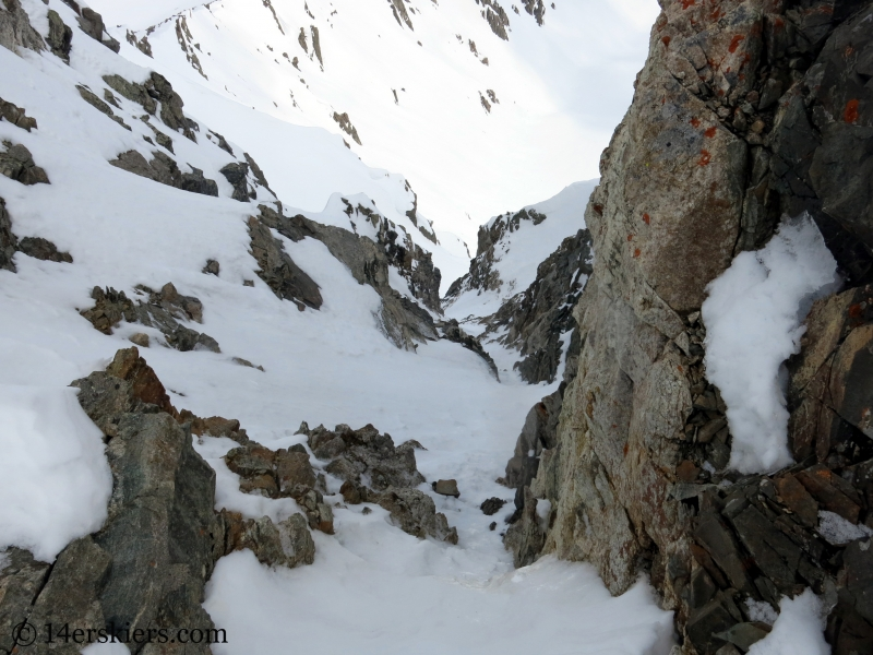 Entrance of north Couloir on Pacific Peak.