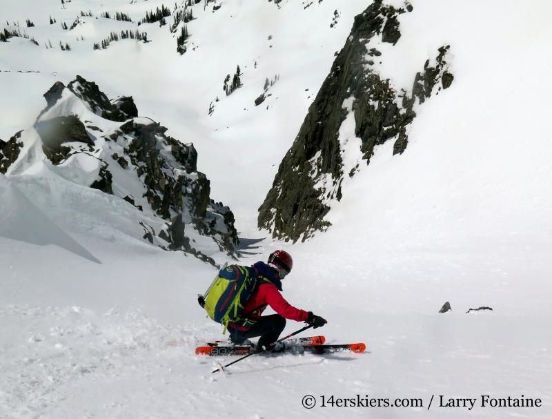 Skiing with Patagonia KnifeRidge pants.
