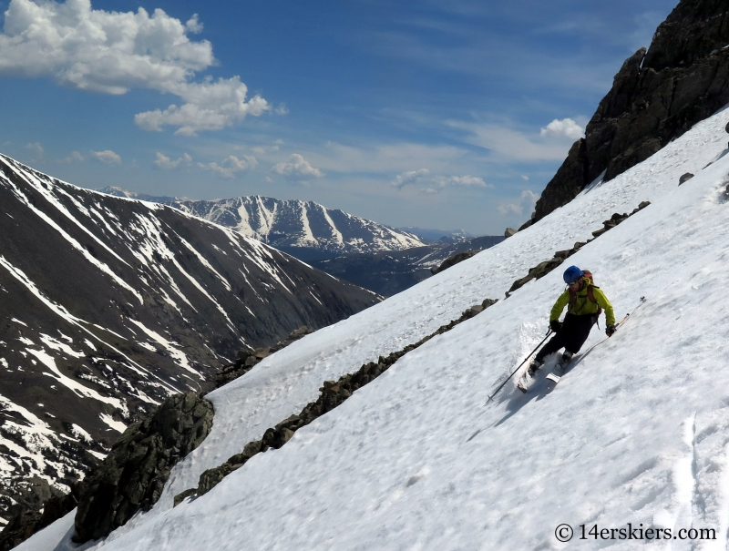 Larry Fontaine backcountry skiing Polaris Couloir on North Star Mountain.