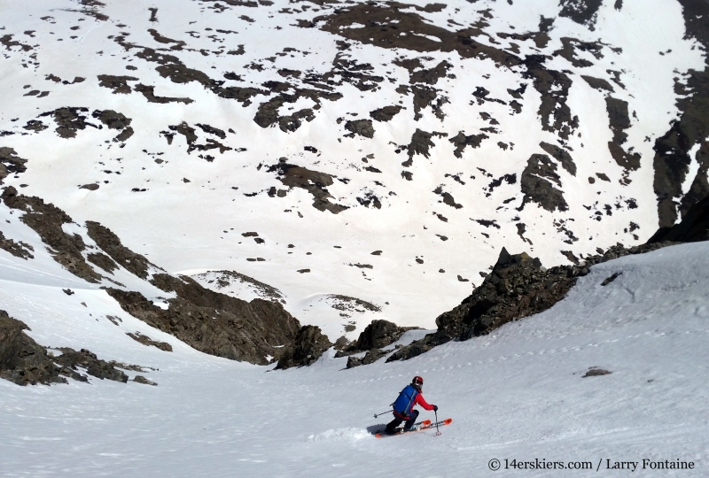 Brittany Konsella backcountry skiing Polaris Couloir on North Star Mountain.