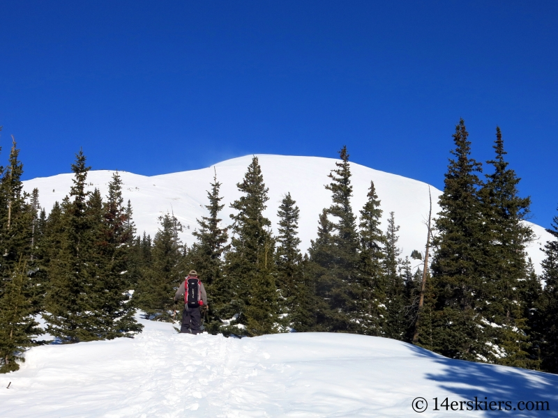Skinning the east ridge on Quandary Peak in Colorado.