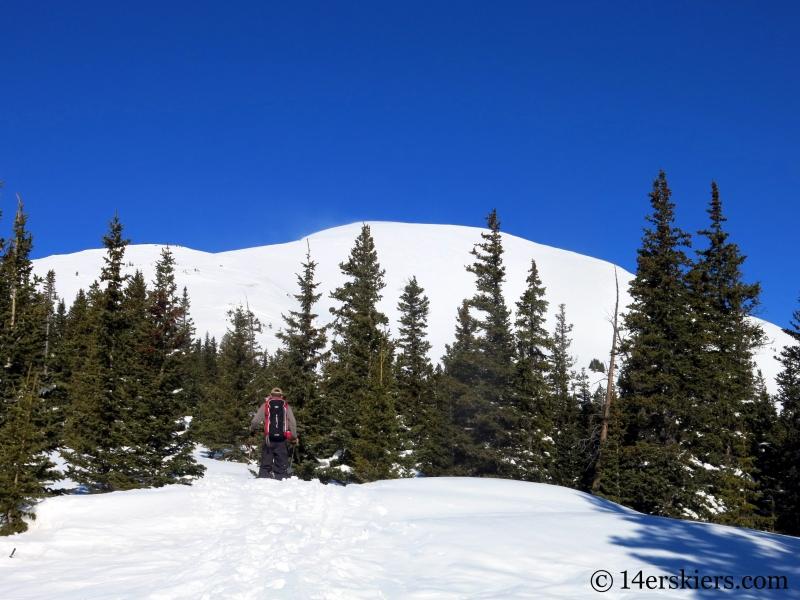 Skinning the east ridge on Quandary Peak in Colorado.