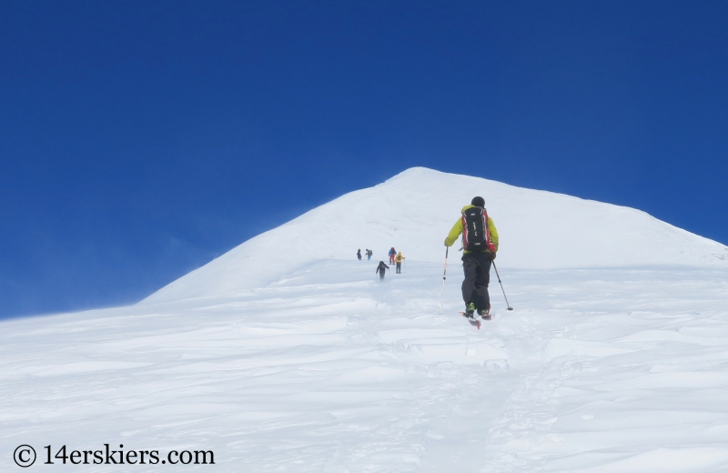 Backcountry skiing on Quandary Peak.
