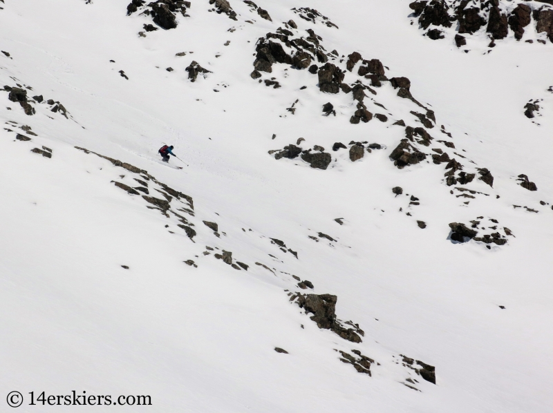 Larry Fontaine backcountry skiing Cristo Couloir on Quandary Peak.