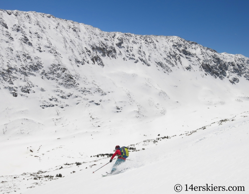 Brittany Walker Konsella backcountry skiing Cristo Couloir on Quandary Peak.