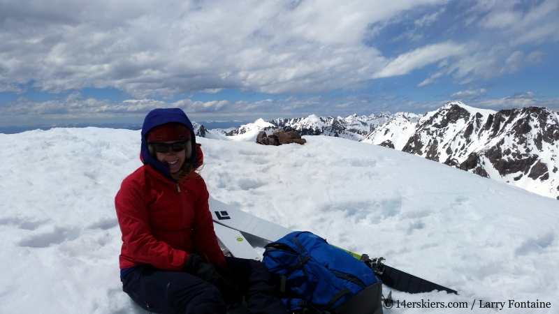 Brittany Konsella on the summit of Red Peak in the Gore Range.