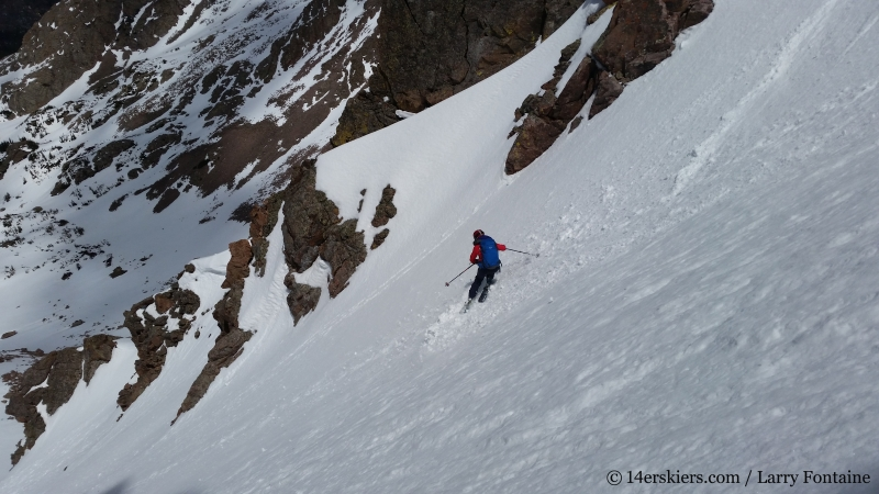 Brittany Konsella backcountry skiing Big Bad Wolf on Red Peak in the Gore Range.