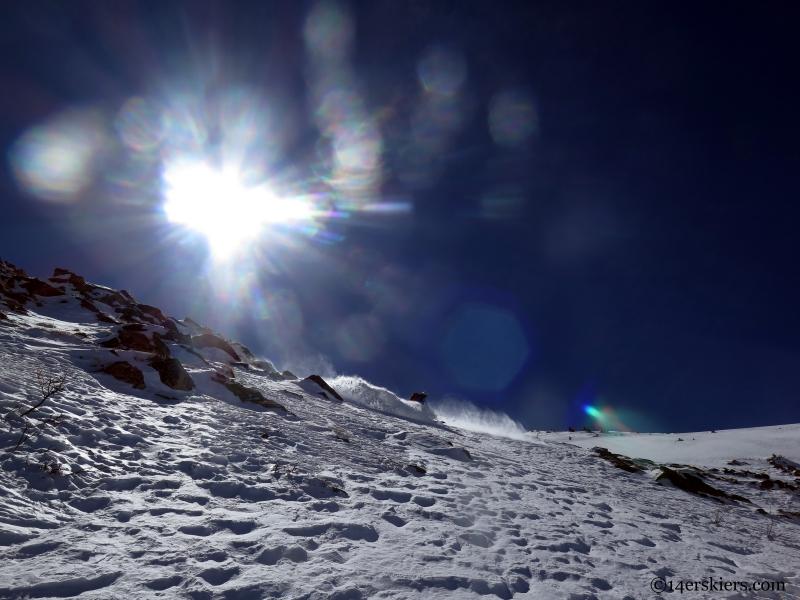 sunny powder skiing