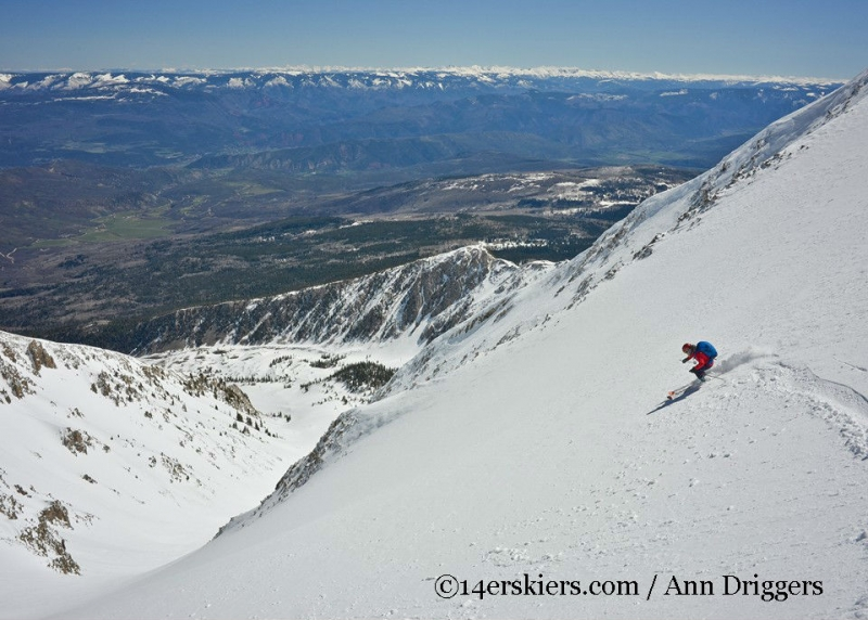 Brittany Walker Konsella backcountry skiing the Elbow on Mount Sopris.