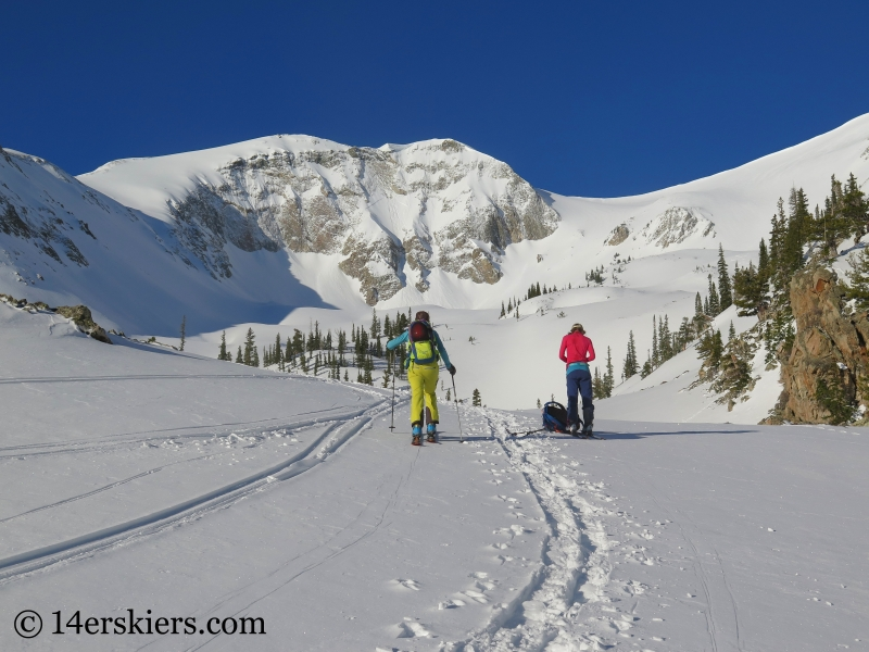 Backcountry skiing Thomas Lakes Bowl, Mount Sopris.