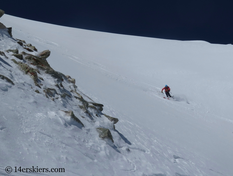 Sue King backcountry skiing the Elbow on Mount Sopris.
