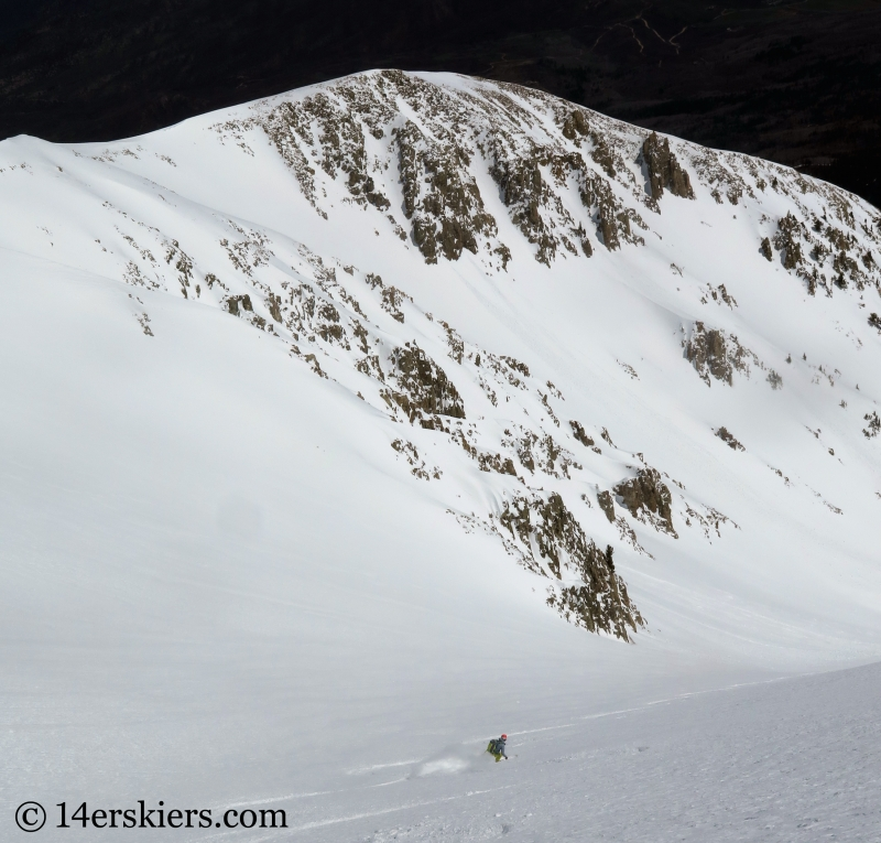Ann Driggers bakcocuntry skiing the Elbow on Mount Sopris.