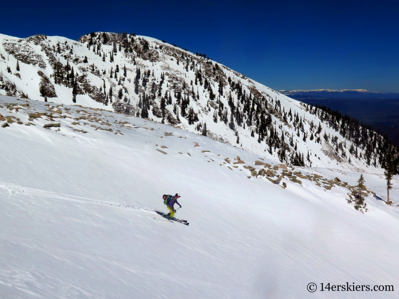 Ann Driggers backcountry skiing on Mount Sopris.