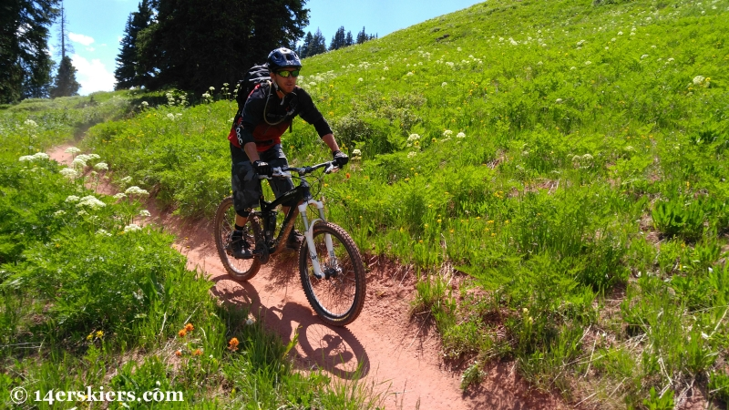 Larry Fontaine mountain biking Double Top near Crested Butte.