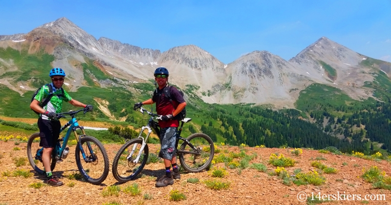Frank Konsella and Larry Fontaine mountain biking near Crested Butte.