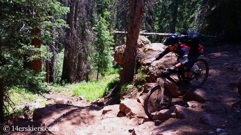 Larry Fontaine mountain biking Block and Tackle near Crested Butte.