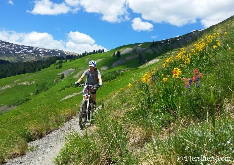 Natalie Moran mountain biking on Trailriders 401 near Crested Butte, CO.