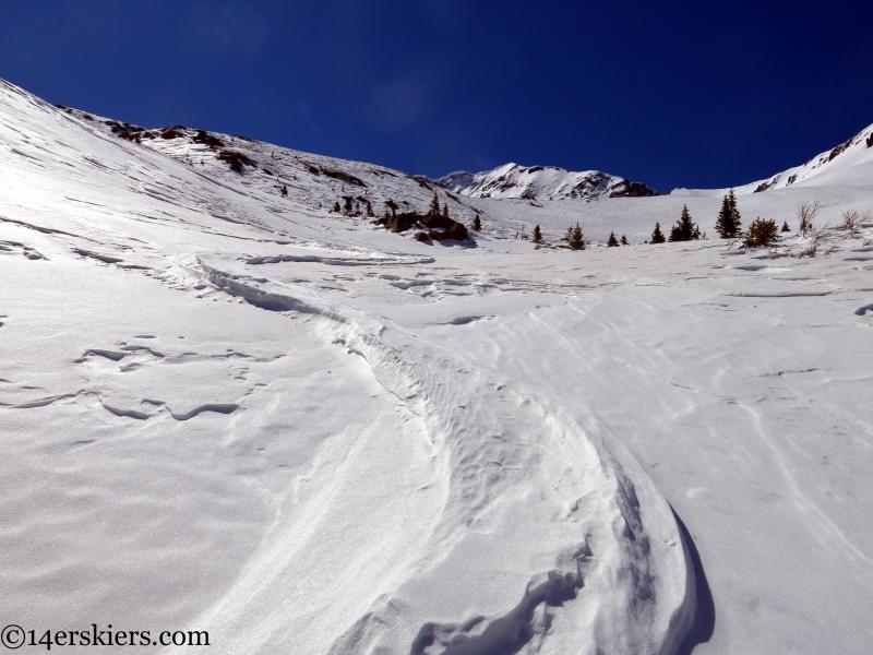 old windswept ski tracks