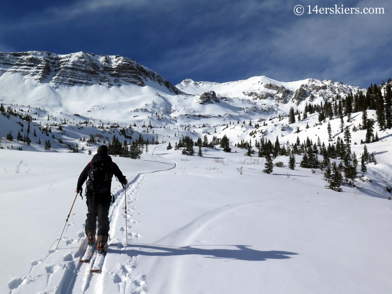 Skinning up Baxter Gulch while backcountry skiing in Crested Butte