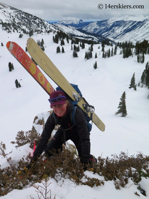 Alex Riedman climbing to go backcountry skiing in Crested Butte.